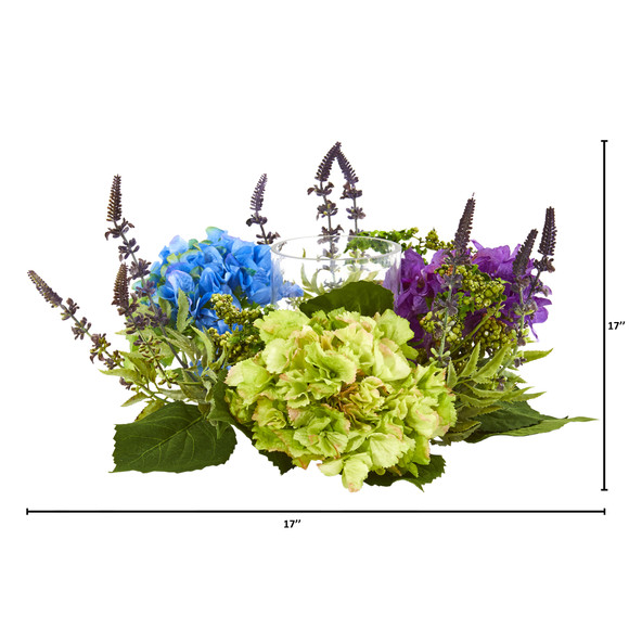 Hydrangea Artificial Arrangement Candelabrum - SKU #4326 - 1