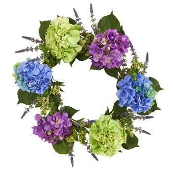 22 Hydrangea Artificial Wreath - SKU #4327