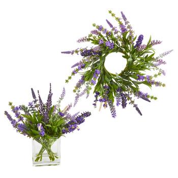 12 Lavender Arrangement and 14 Lavender Wreath Set of 2 - SKU #4328-S2