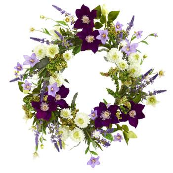 22 Mixed Flower Artificial Wreath - SKU #4330