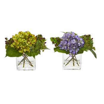 Hydrangea Artificial Arrangement Set of 2 - SKU #4347-S2