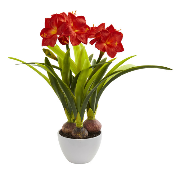 Amaryllis Artificial Arrangement in White Vase - SKU #4352
