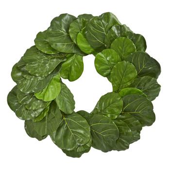 30 Fiddle Leaf Artificial Wreath - SKU #4358