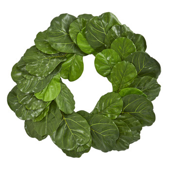 30 Fiddle Leaf Artificial Wreath - SKU #4358