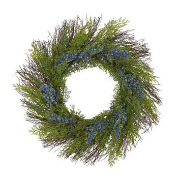 21 Cedar with Blue Berries Artificial Wreath - SKU #4359