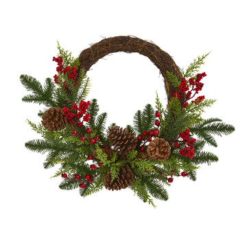 22 Mixed Pine and Cedar with Berries and Pine Cones Artificial Wreath - SKU #4360