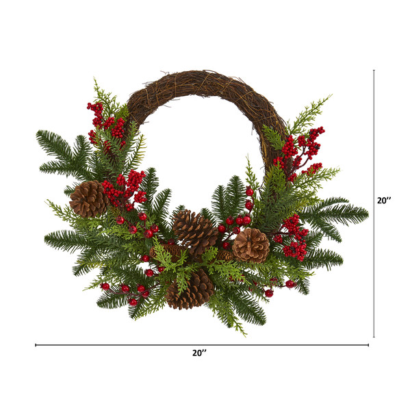 22 Mixed Pine and Cedar with Berries and Pine Cones Artificial Wreath - SKU #4360 - 1