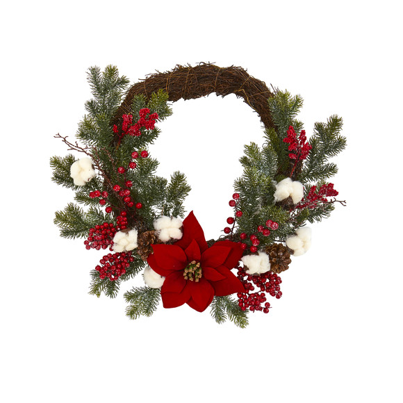 19 Poinsettia with Berries and Cotton Artificial Wreath - SKU #4361