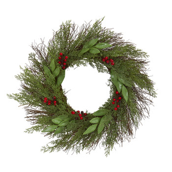 20 Cedar and Ruscus with Berries Artificial Wreath - SKU #4362