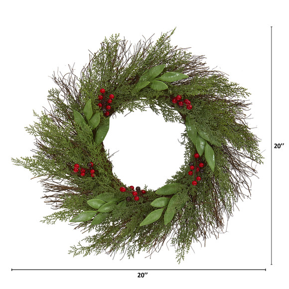 20 Cedar and Ruscus with Berries Artificial Wreath - SKU #4362 - 1