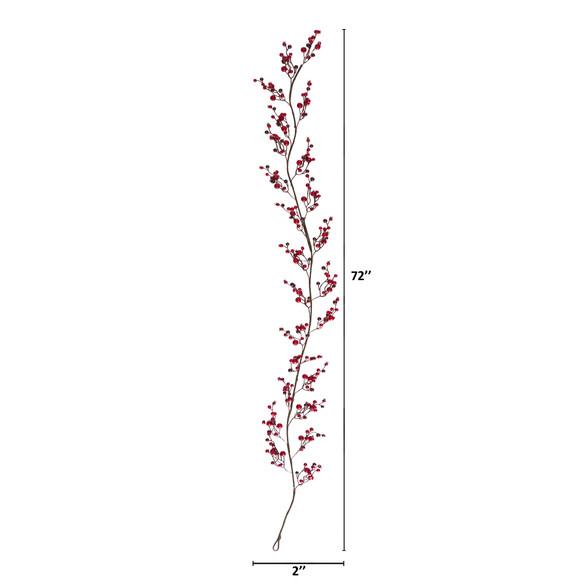 6 Red Berry Artificial Garland Set of 2 - SKU #4363-S2 - 1