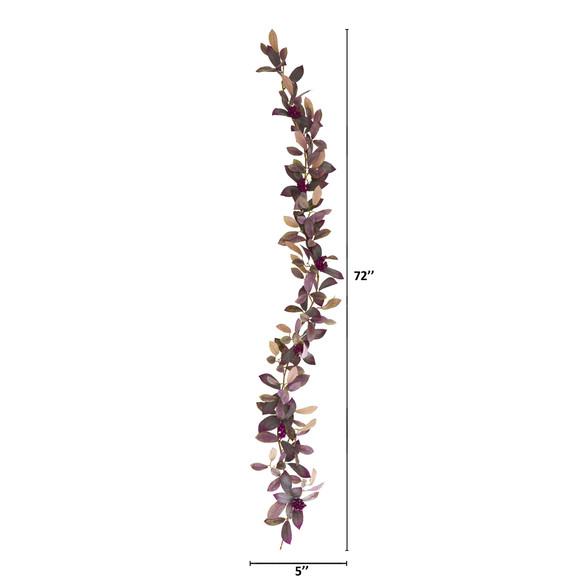 6 Fall Laurel Leaf with Berries Artificial Garland Set of 2 - SKU #4364-S2 - 1
