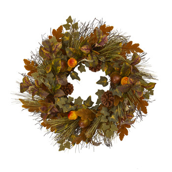 23 Mixed Fall Leaf Pinecone and Acorn Artificial Wreath - SKU #4365