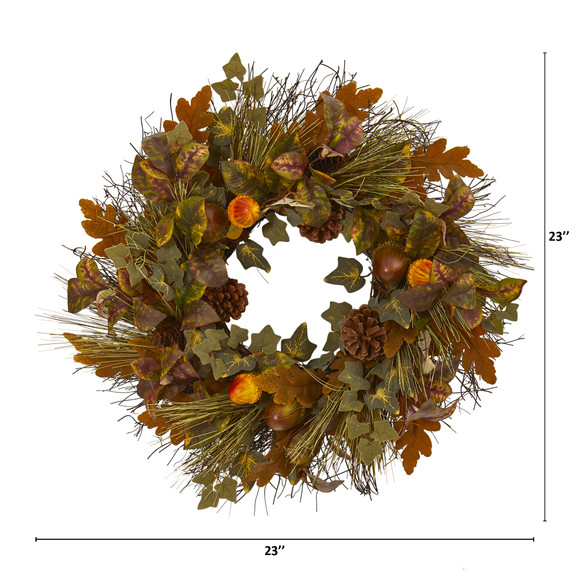 23 Mixed Fall Leaf Pinecone and Acorn Artificial Wreath - SKU #4365 - 1
