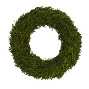 18 Cypress Preserved Wreath - SKU #4378