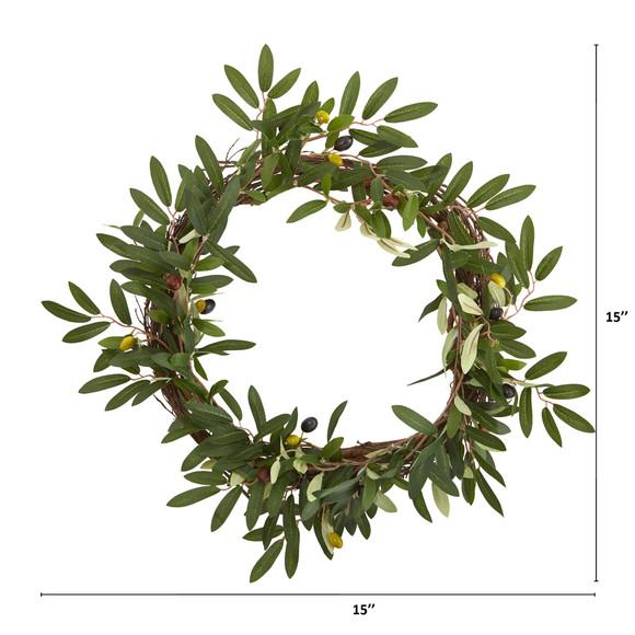 16 Olive Artificial Wreath - SKU #4381-MB - 1