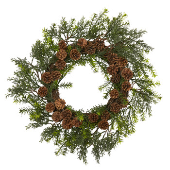 22 Cedar Grass and Pine Cone Artificial Wreath UV Resistant Indoor/Outdoor - SKU #4393
