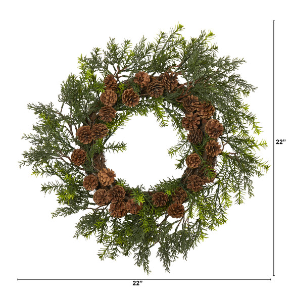 22 Cedar Grass and Pine Cone Artificial Wreath UV Resistant Indoor/Outdoor - SKU #4393 - 2