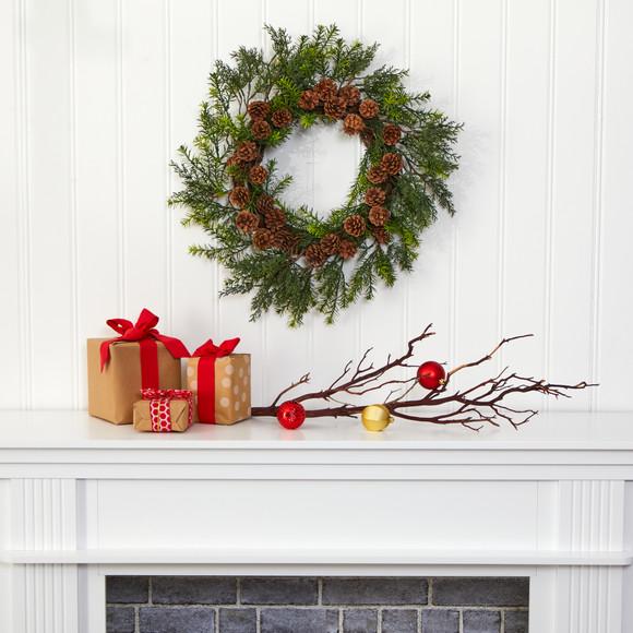 22 Cedar Grass and Pine Cone Artificial Wreath UV Resistant Indoor/Outdoor - SKU #4393 - 3