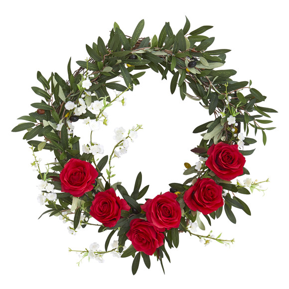 21 Olive Rose and Cherry Blossom Artificial Wreath - SKU #4395