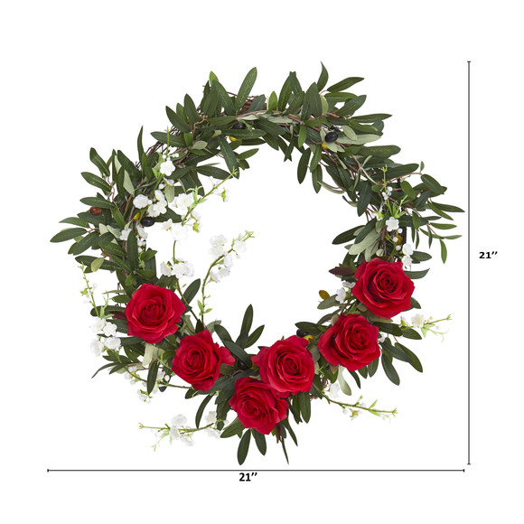 21 Olive Rose and Cherry Blossom Artificial Wreath - SKU #4395 - 1