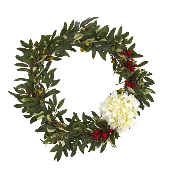 21 Olive Hydrangea and Holly Berry Artificial Wreath - SKU #4396-WH