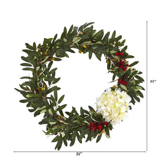 21 Olive Hydrangea and Holly Berry Artificial Wreath - SKU #4396-WH - 1