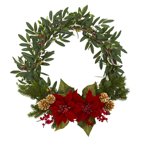 21 Olive with Poinsettia Berry and Pine Artificial Wreath - SKU #4397