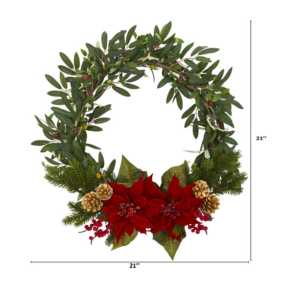 21 Olive with Poinsettia Berry and Pine Artificial Wreath - SKU #4397 - 1