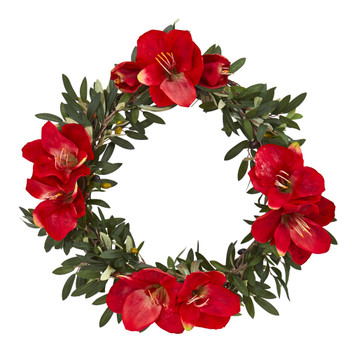 21 Olive with Amaryllis Artificial Wreath - SKU #4398