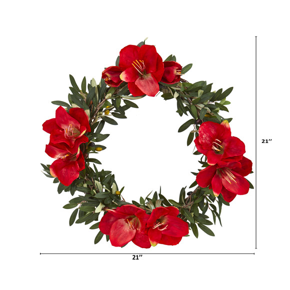 21 Olive with Amaryllis Artificial Wreath - SKU #4398 - 1