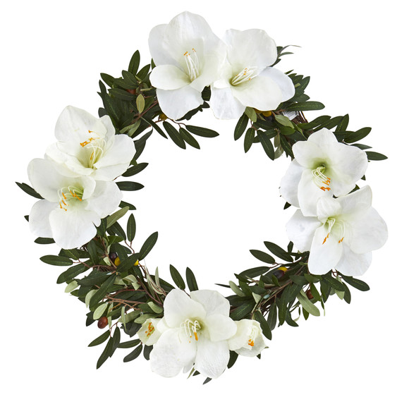 21 Olive with Amaryllis Artificial Wreath - SKU #4398 - 2
