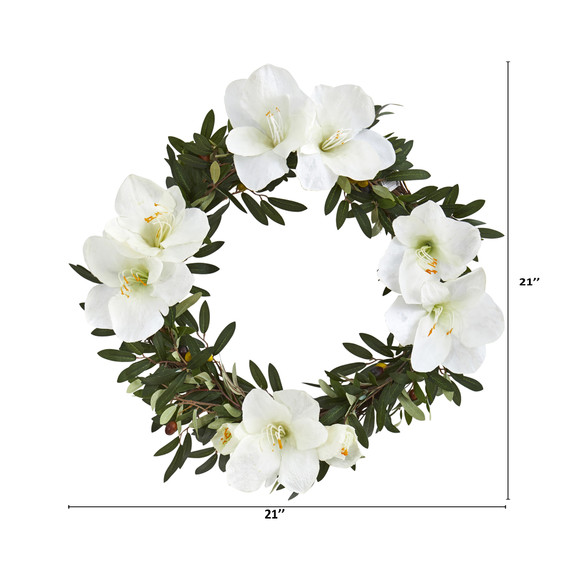 21 Olive with Amaryllis Artificial Wreath - SKU #4398 - 3