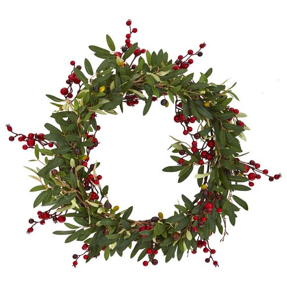 20 Olive with Berries Artificial Wreath - SKU #4399