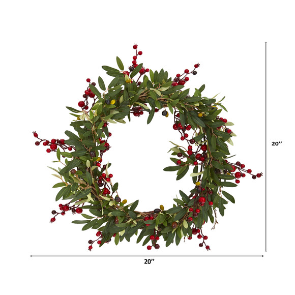20 Olive with Berries Artificial Wreath - SKU #4399 - 1