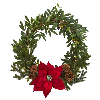 20 Olive with Poinsettia Artificial Wreath - SKU #4407