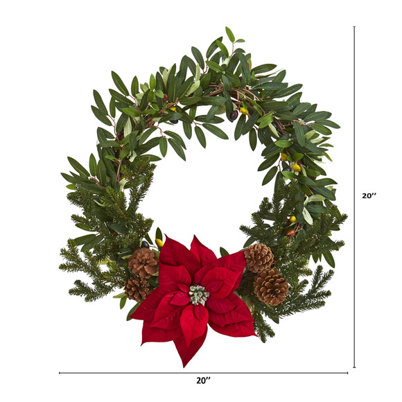 20 Olive with Poinsettia Artificial Wreath - SKU #4407 - 1