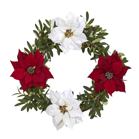 21 Olive with Poinsettia Artificial Wreath - SKU #4408 - 2