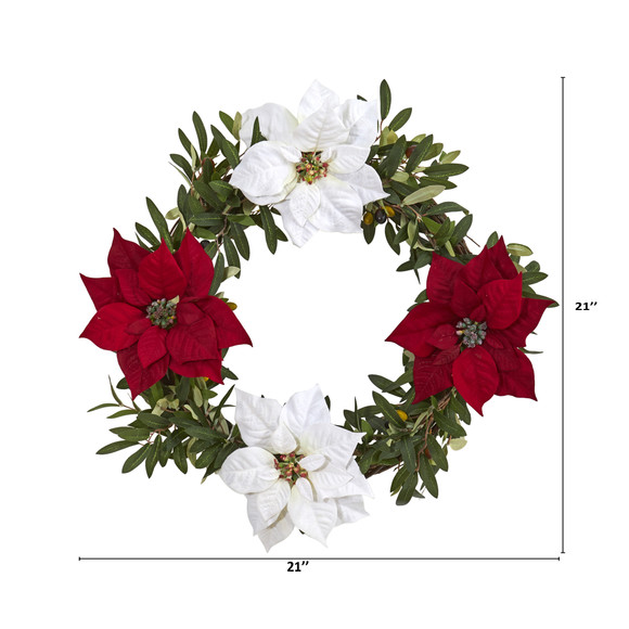 21 Olive with Poinsettia Artificial Wreath - SKU #4408 - 3