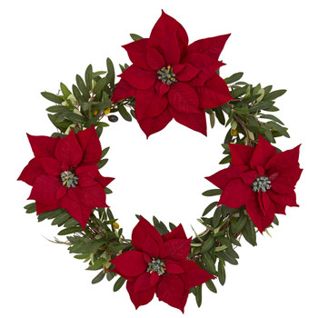 21 Olive with Poinsettia Artificial Wreath - SKU #4408