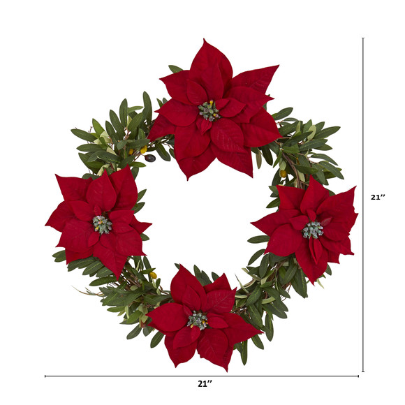 21 Olive with Poinsettia Artificial Wreath - SKU #4408 - 1