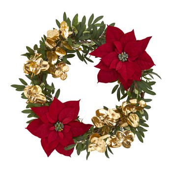 21 Olive Poinsettia and Gold Eucalyptus Artificial Wreath - SKU #4409