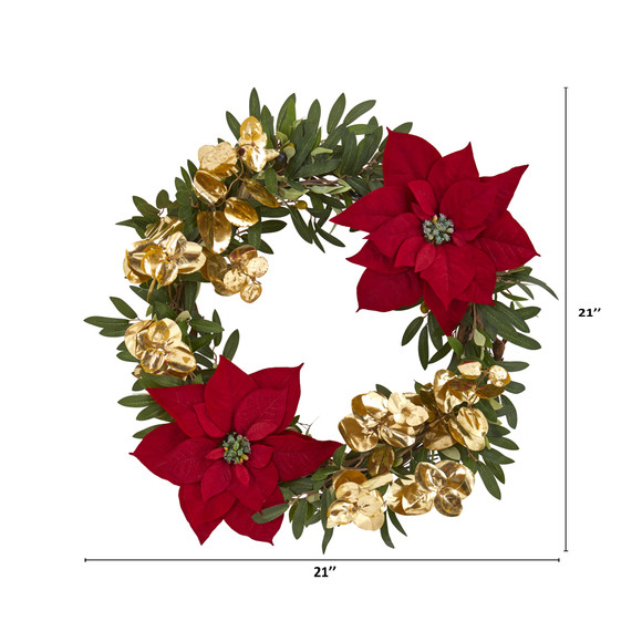 21 Olive Poinsettia and Gold Eucalyptus Artificial Wreath - SKU #4409 - 1