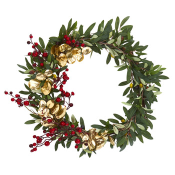 21 Olive Berries and Gold Eucalyptus Artificial Wreath - SKU #4410
