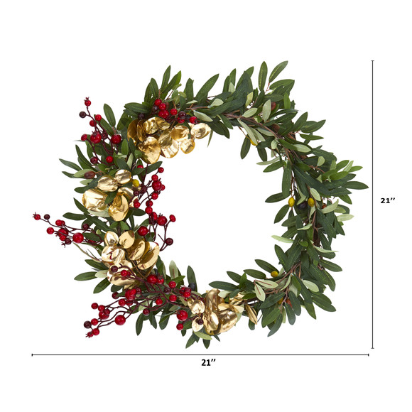 21 Olive Berries and Gold Eucalyptus Artificial Wreath - SKU #4410 - 1