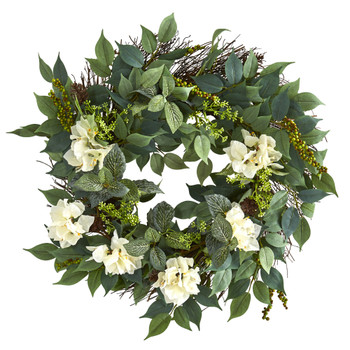 23 Mixed Greens and Bougainvillea Artificial Wreath - SKU #4412-CR