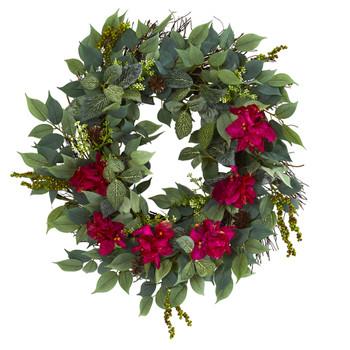 23 Mixed Greens and Bougainvillea Artificial Wreath - SKU #4412