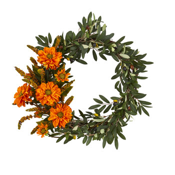 20 Olive and Zinnia Artificial Wreath - SKU #4413