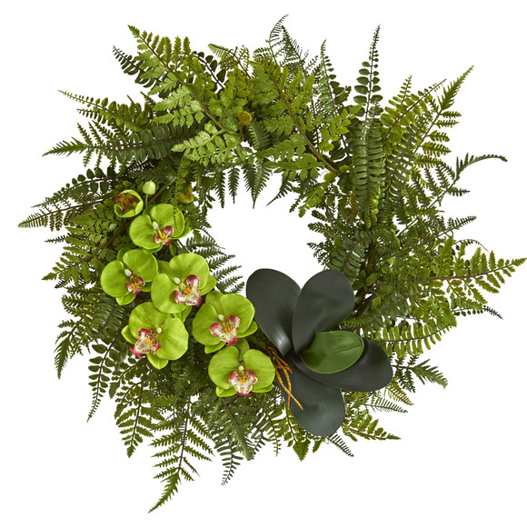 23 Mixed Greens and Phalaenopsis Orchid Artificial Wreath - SKU #4414 - 2