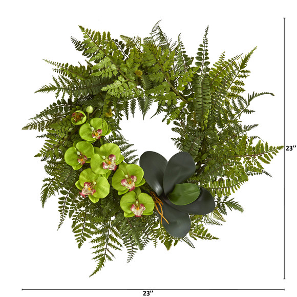 23 Mixed Greens and Phalaenopsis Orchid Artificial Wreath - SKU #4414 - 3
